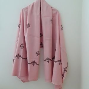 Accessories - PINK EMBROIDERED WOOL PASHMINA SHAWL